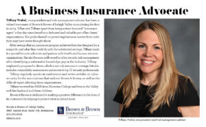 "LVSAUG20 WomenBusiness BrownBrownInsurance 300x186 - Tiffany Vrabel featured in 2020 Lehigh Valley Style's ""Women Who Move the Valley"""